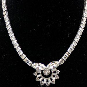 Vintage Clear Rhinestone Necklace Set in Sterling